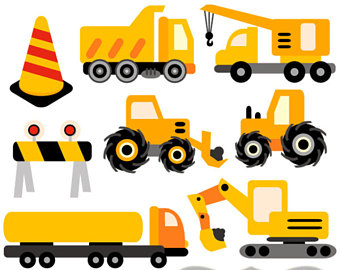 340x270 Under Construction Clipart, Digital Printable Art, Truck Clipart