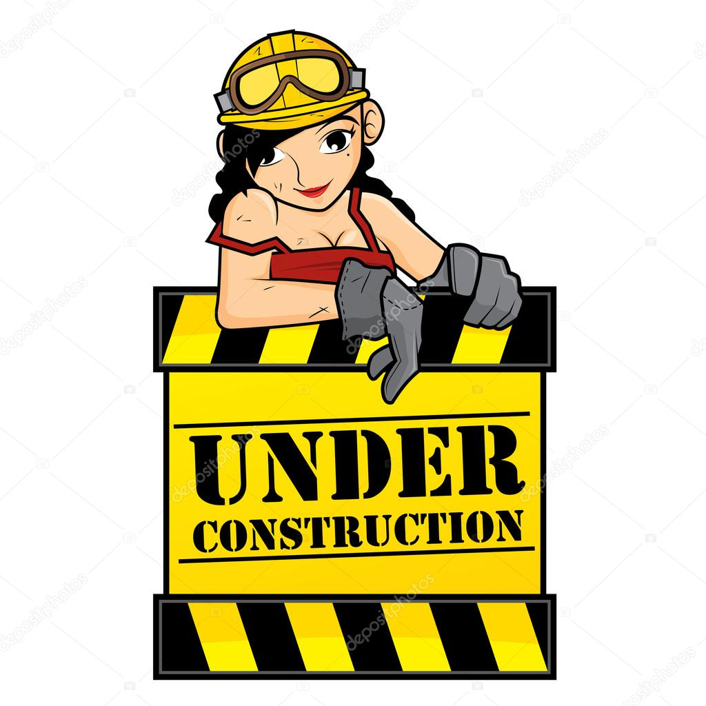 1024x1024 Under Construction Girl Stock Vector Vable