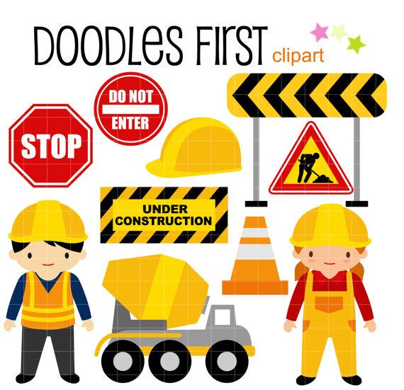 570x551 Construction Kids Digital Clip Art For Scrapbooking Card