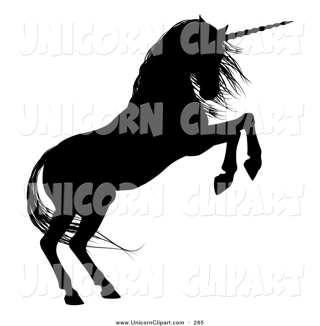 1024x1044 Fantasy Vector Clip Art Of A Black Silhouetted Rearing Unicorn