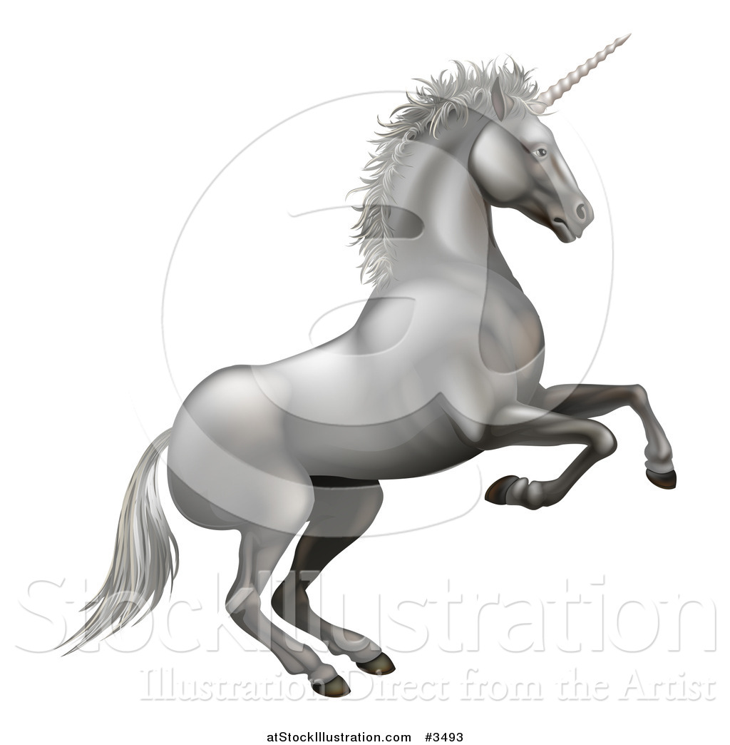 1024x1044 Vector Illustration Of A Rearing Silver Unicorn By