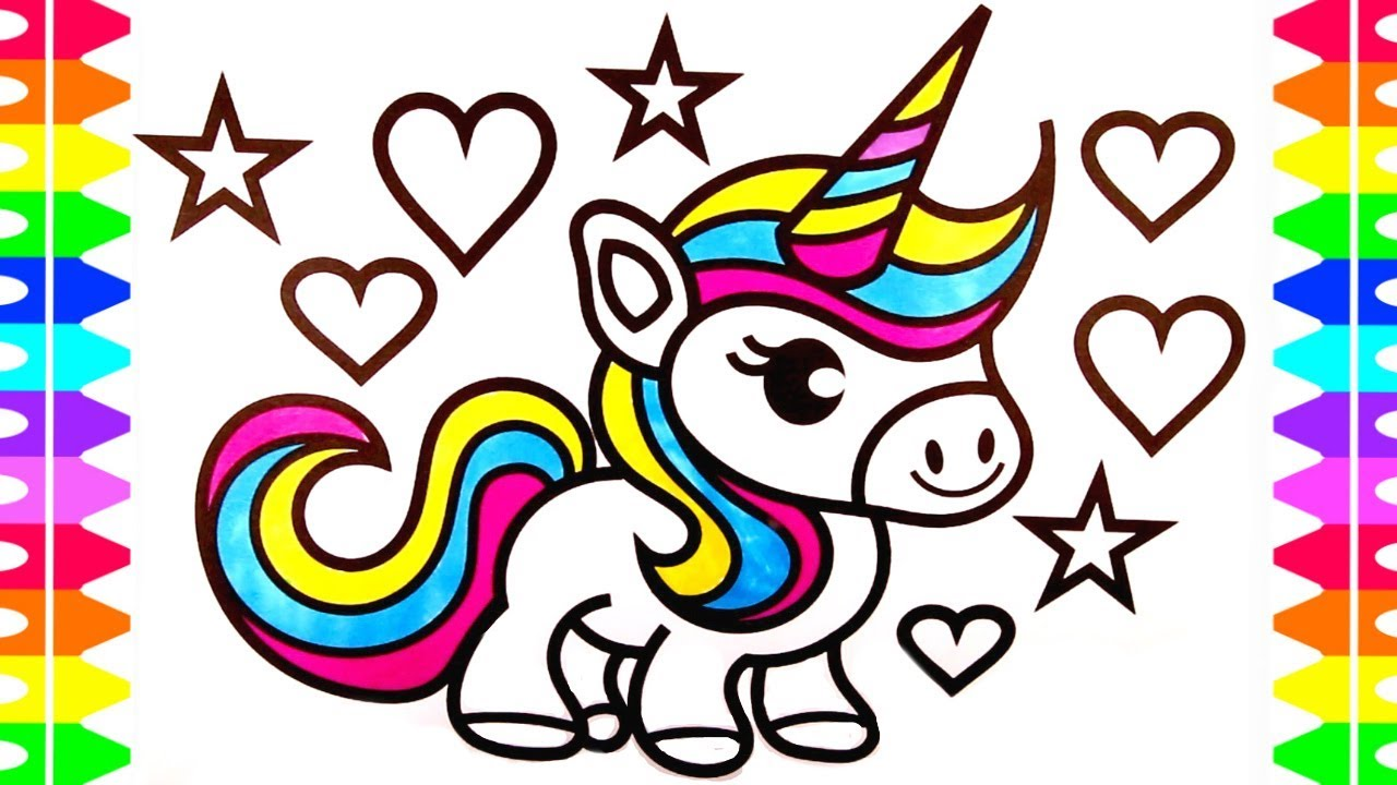 1280x720 Cute Unicorn Coloring Page For Kids Learn How To Draw A Baby