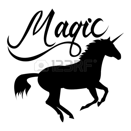 450x450 Unicorn Head Silhouette With Text. Inspirational Illustration