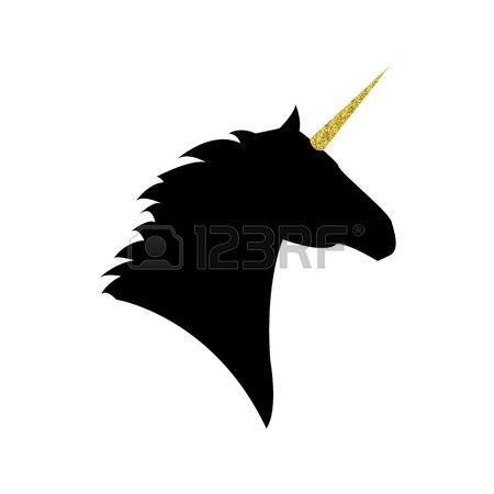 450x450 Unicorn Head With A Golden Horn Mythical Horse In Silhouette