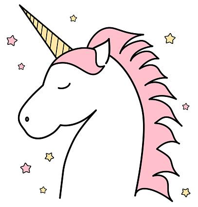 407x425 Unicorn Outline Clipart