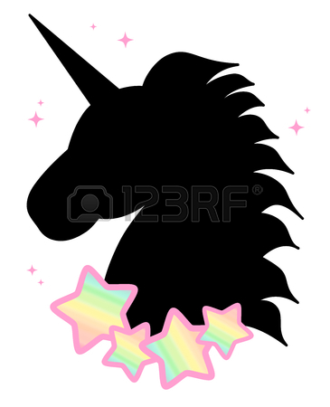365x450 Cartoon Cute Black Unicorn Silhouette With Rainbow Stars Seamless
