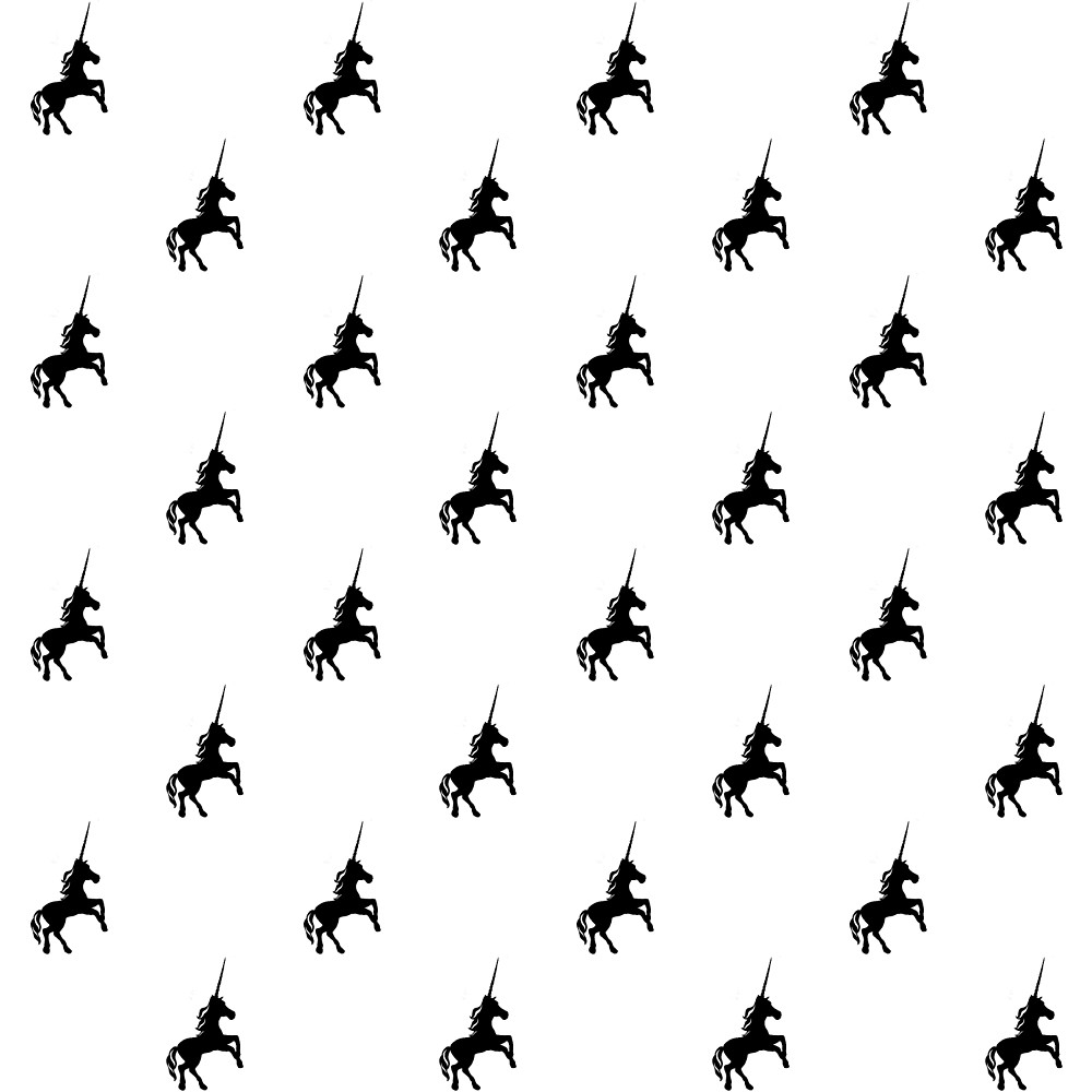 1000x1000 Black Unicorn Pattern With Accents On White Background By