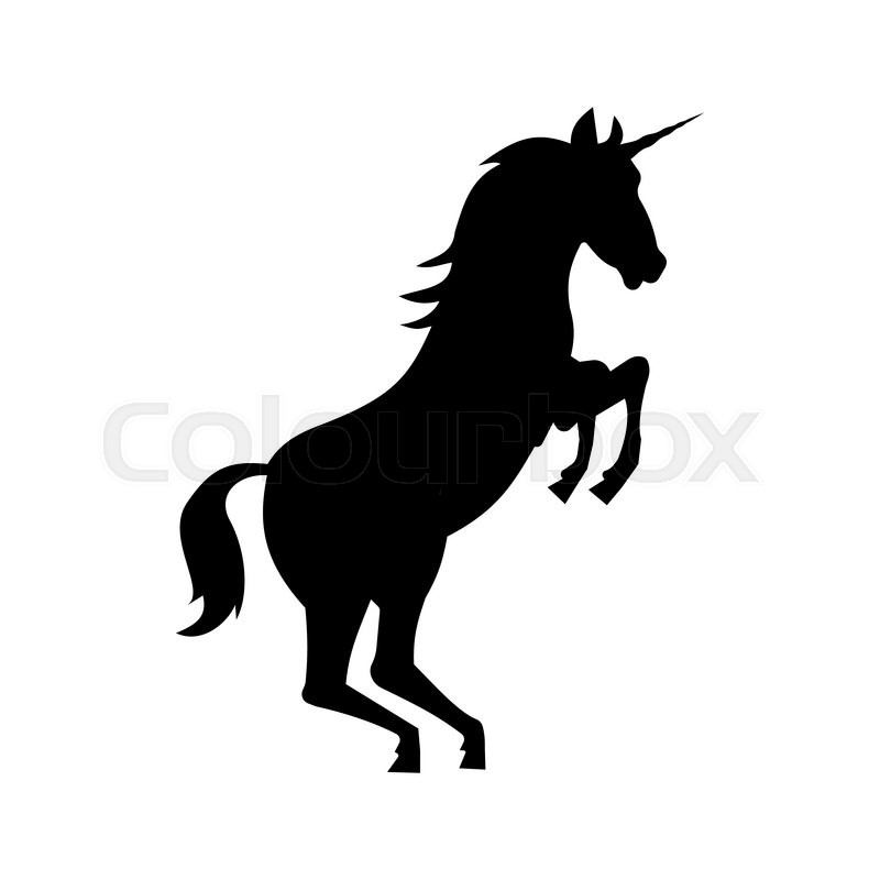 800x800 Fairy Unicorn Silhouette Isolated On White Background Stock