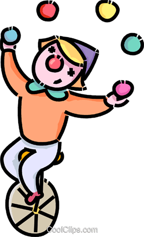 293x480 Clown Juggling On A Unicycle Royalty Free Vector Clip Art