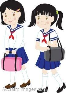 216x300 Clip Art Of Girls In School Uniforms