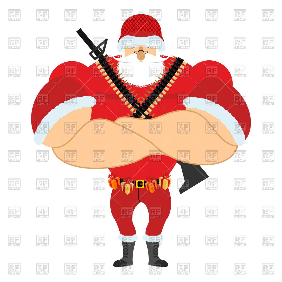 1200x1200 Santa Claus In Soldier Uniform, Christmas War Royalty Free Vector