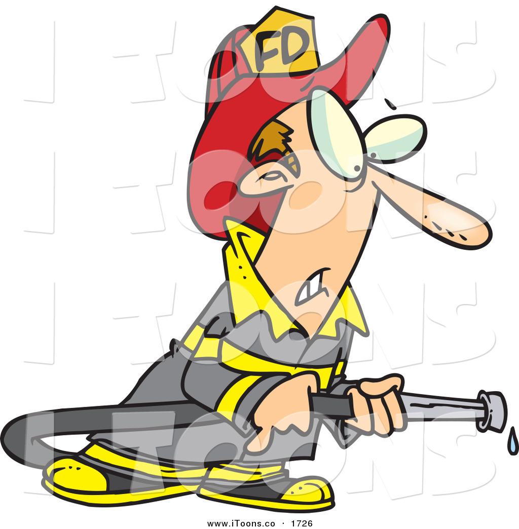 1024x1044 Vector Cliprt Of Worried White Fireman In Uniform, Holding