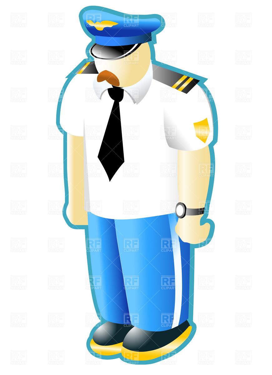 871x1200 Civilian Pilot In Uniform Royalty Free Vector Clip Art Image