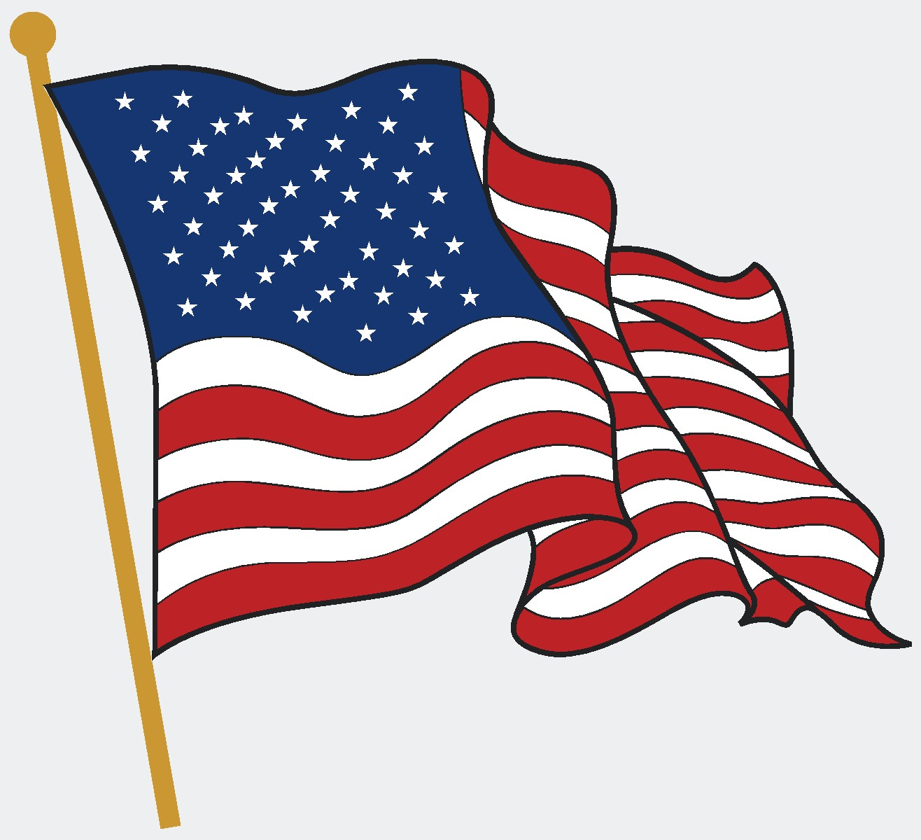 1316x1200 American Flag Clipart Cartoon