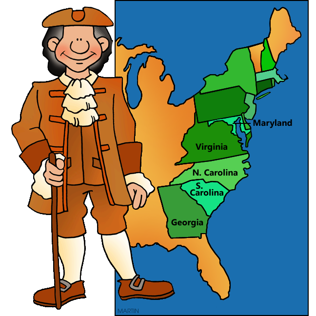 648x648 United States Clip Art By Phillip Martin, Southern Colonies