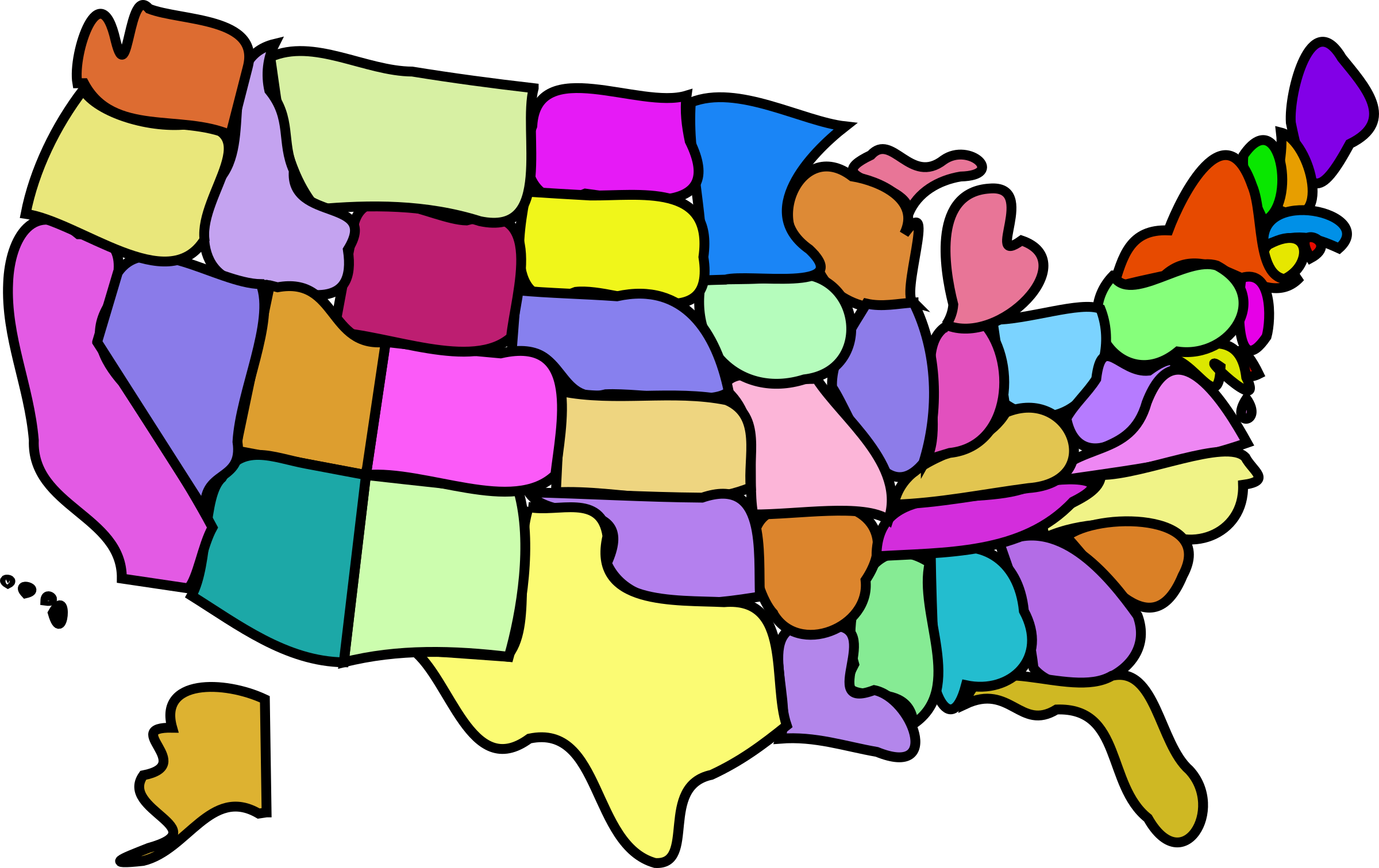 2400x1512 Free Vector Art Of Us Map Us Map Cartoony