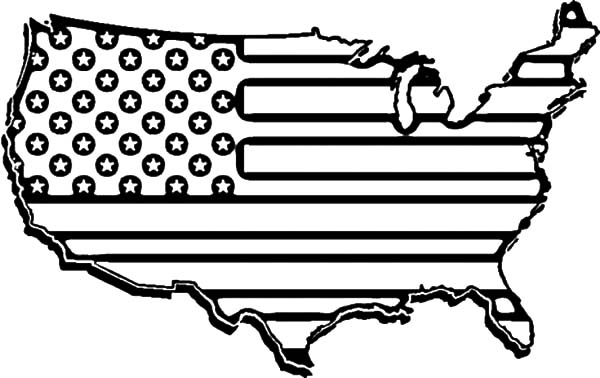600x378 United States Flag Map For Independence Day Celebration Coloring
