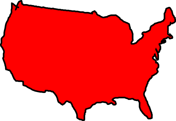 600x414 United States Of America Clipart Red Map Usa Clip Art