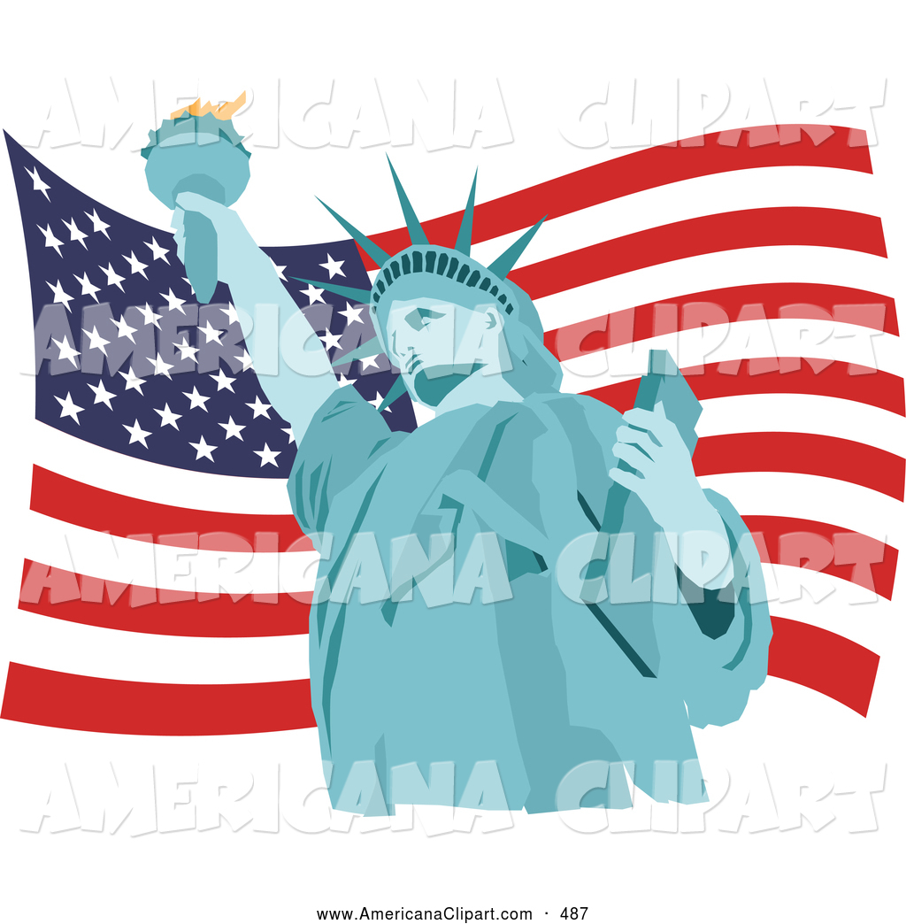 1024x1044 Americana Vector Clip Art Of A Patriotic Blue Statue Of Liberty