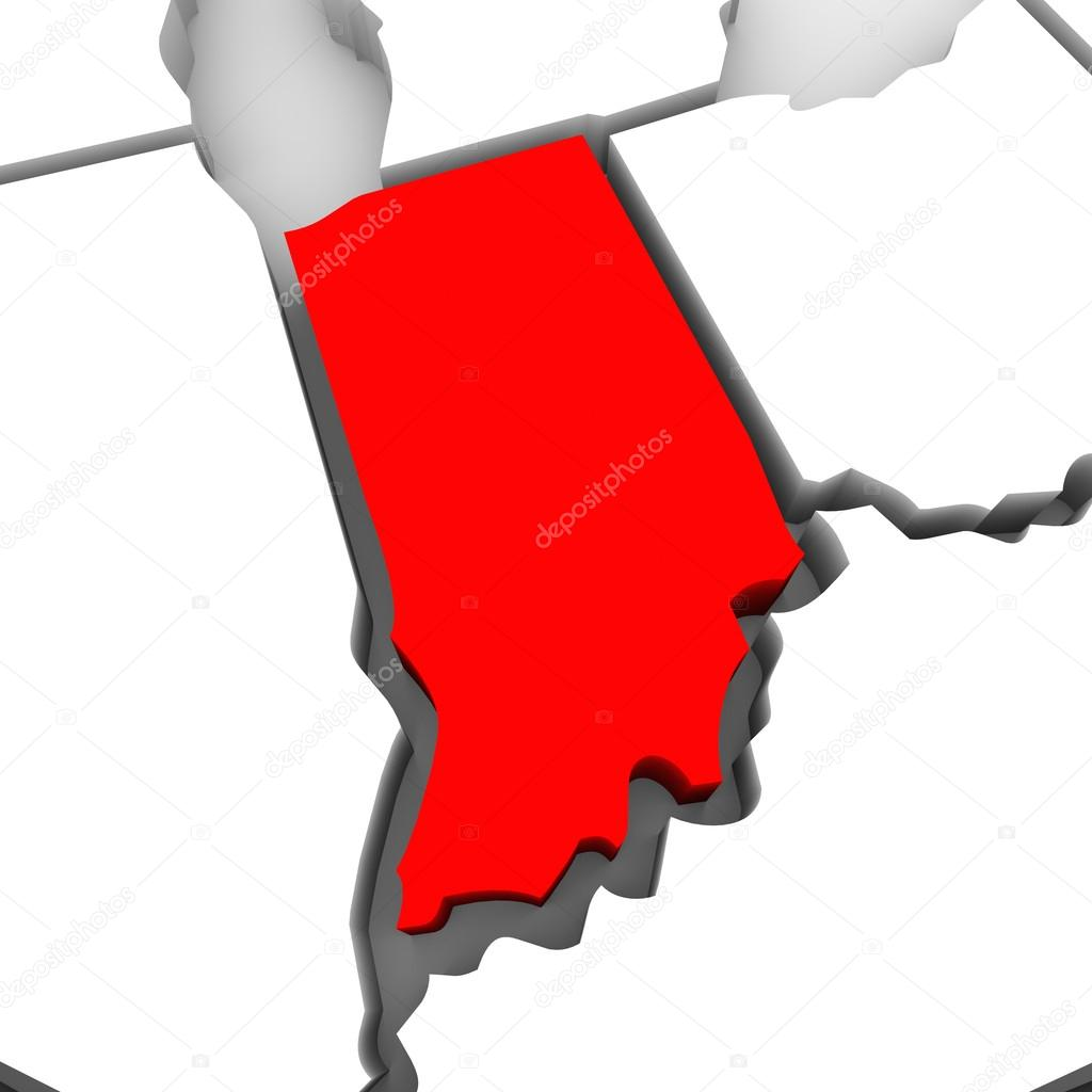 1024x1024 Indiana Red Abstract 3d State Map United States America Stock