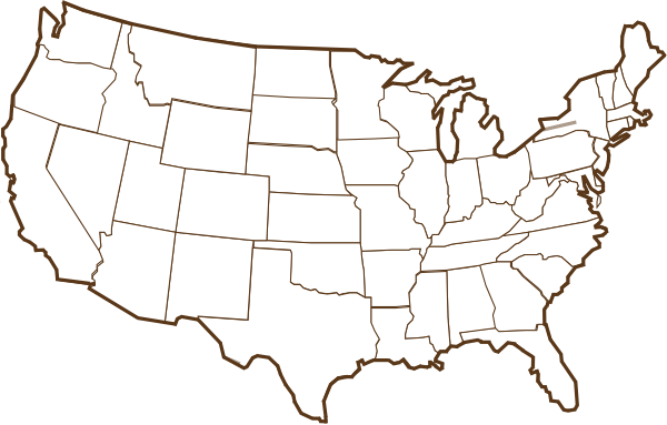 600x383 Brown Us Map Clip Art