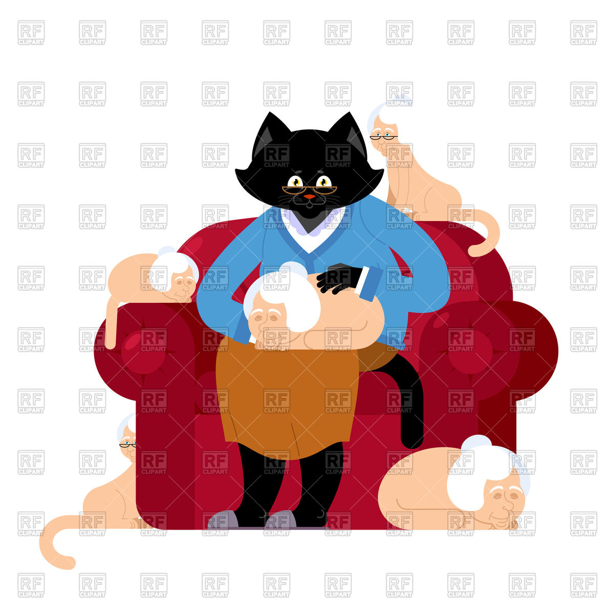 1200x1200 Cat And Grandmother In Parallel Universe Royalty Free Vector Clip