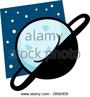 300x323 Funny Uranus Planet Cartoon Illustration Stock Photo, Royalty Free