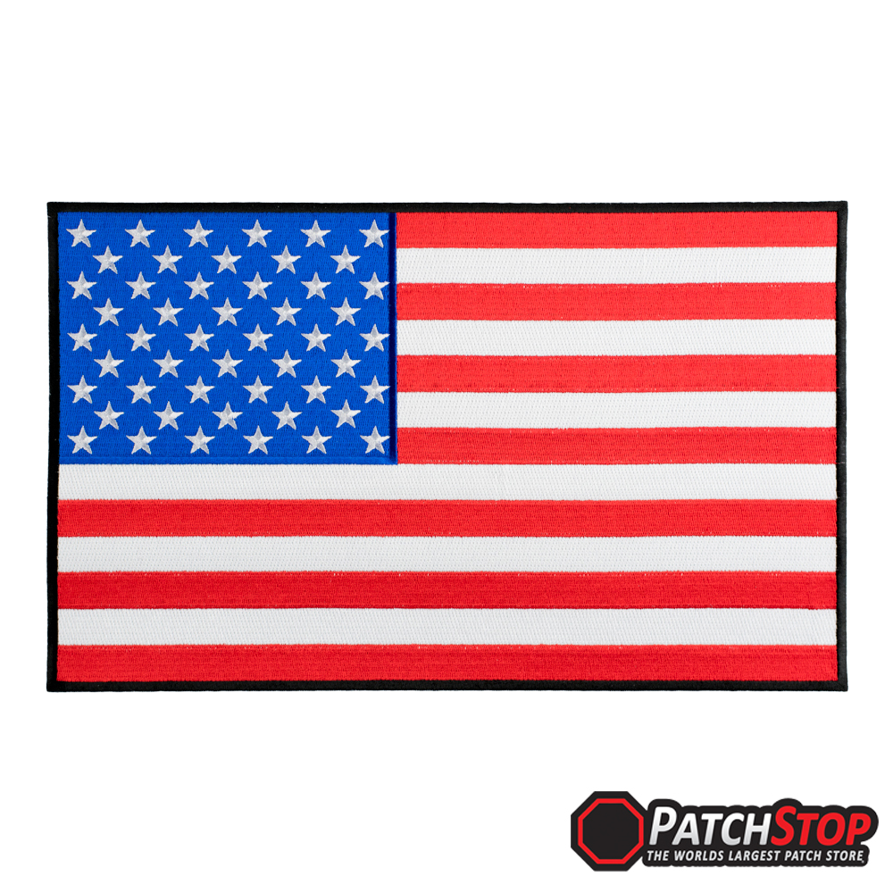 1000x1000 American Flag Black Border Patch Classic, 100% Fully Embroidered