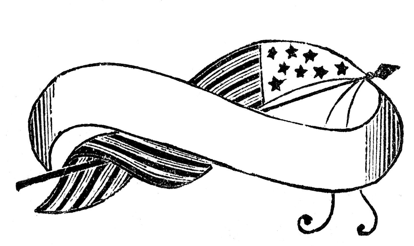 1434x852 Free Flag Banner Clipart Black And White Image