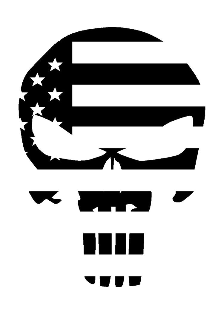 750x1050 Punisher Skull American Flag Military Matte Indooroutdoor Vinyl