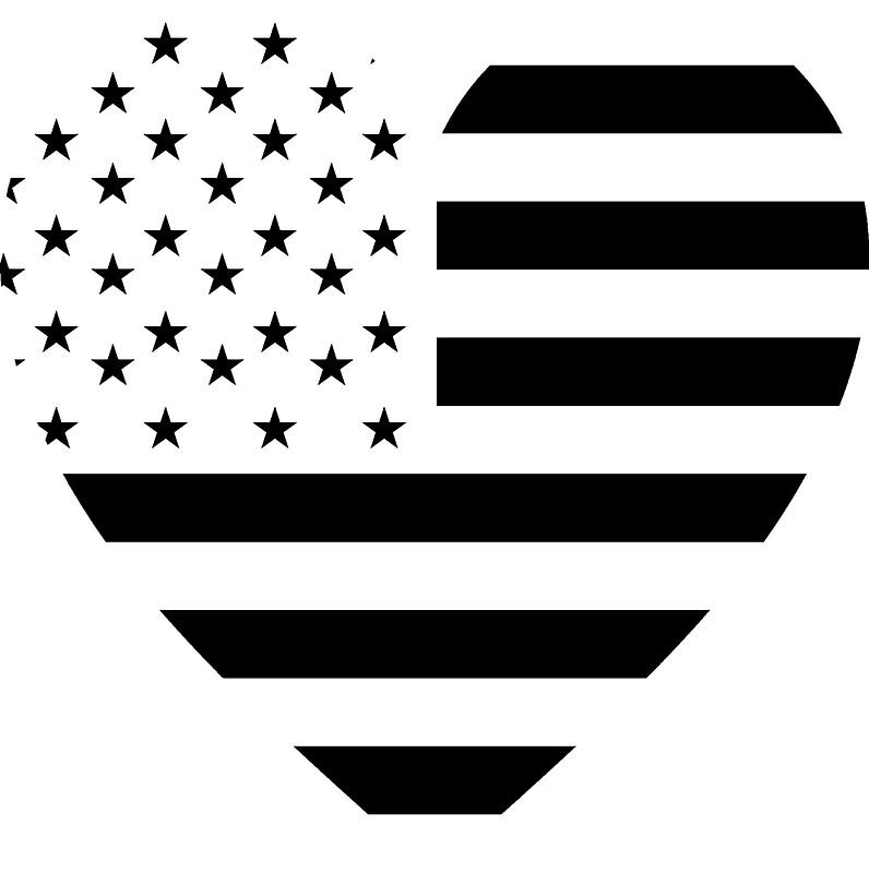 796x800 American Flag, Reverse Heart On Black, Stars Amp Stripes, Pure