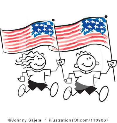 400x420 American Flag Clipart Kid