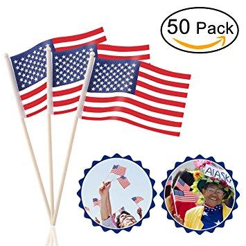355x355 Oulii American Flags Hand Held 50 Pack 4 X 6 Mini