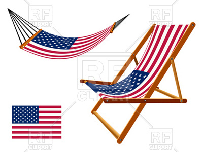 400x300 Usa Flag Hammock And Deck Chair Royalty Free Vector Clip Art Image