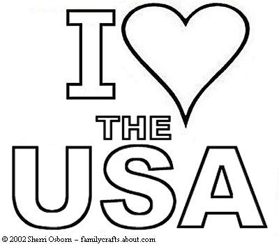 400x350 I Love The Usa Coloring Book Page