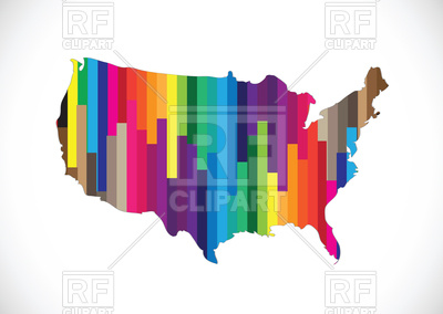 400x284 Outline Of Usa Map Filled With Motley Striped Pattern Royalty Free