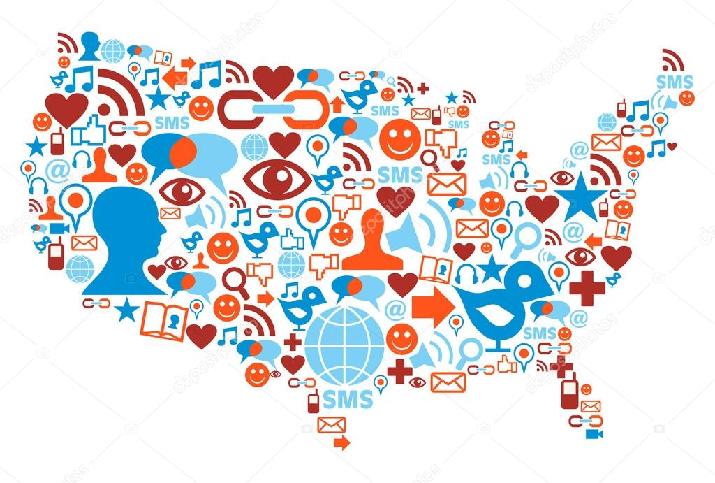 1024x691 Usa Map With Social Media Network Icons Stock Vector Cienpies