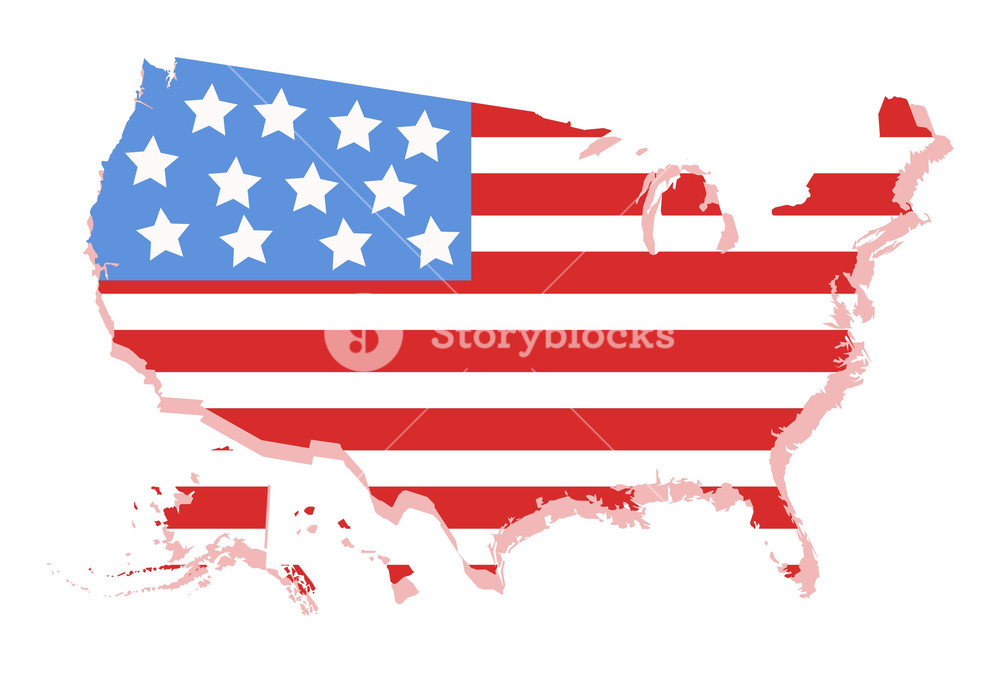 1000x673 Usa Vector Map With America's Flag Design Royalty Free Stock Image