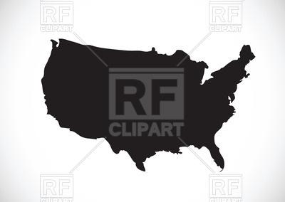 400x284 Black Usa Map Contour Royalty Free Vector Clip Art Image
