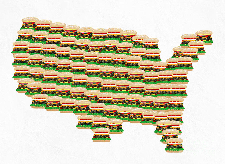 900x654 Burger Town Usa Map White Digital Art By Andee Design