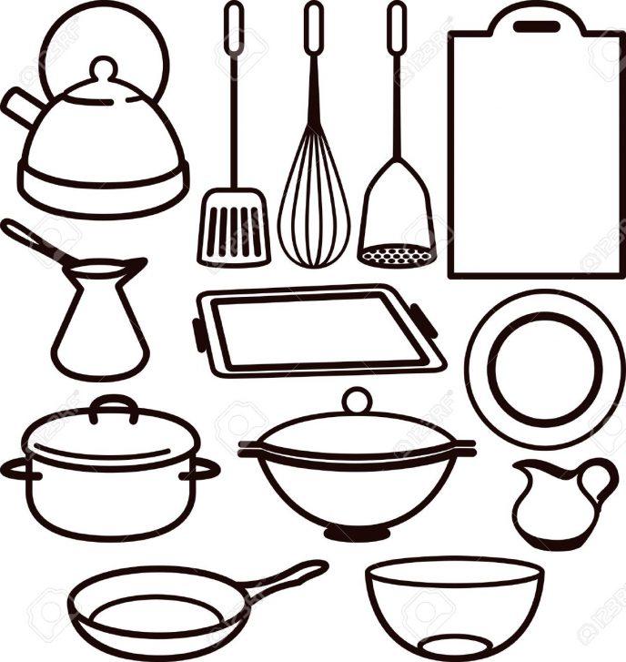 688x727 Kitchen Stunning Kitchen Utensils Clipart Black And White Vector