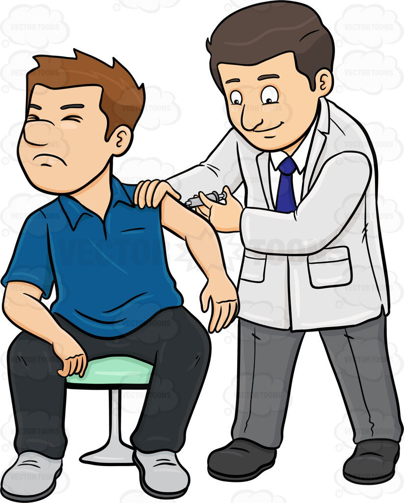 823x1024 A Doctor Injecting A Vaccine On His Male Patient Cartoon Clipart