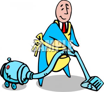 350x310 Royalty Free Clipart Image Butler Vacuuming