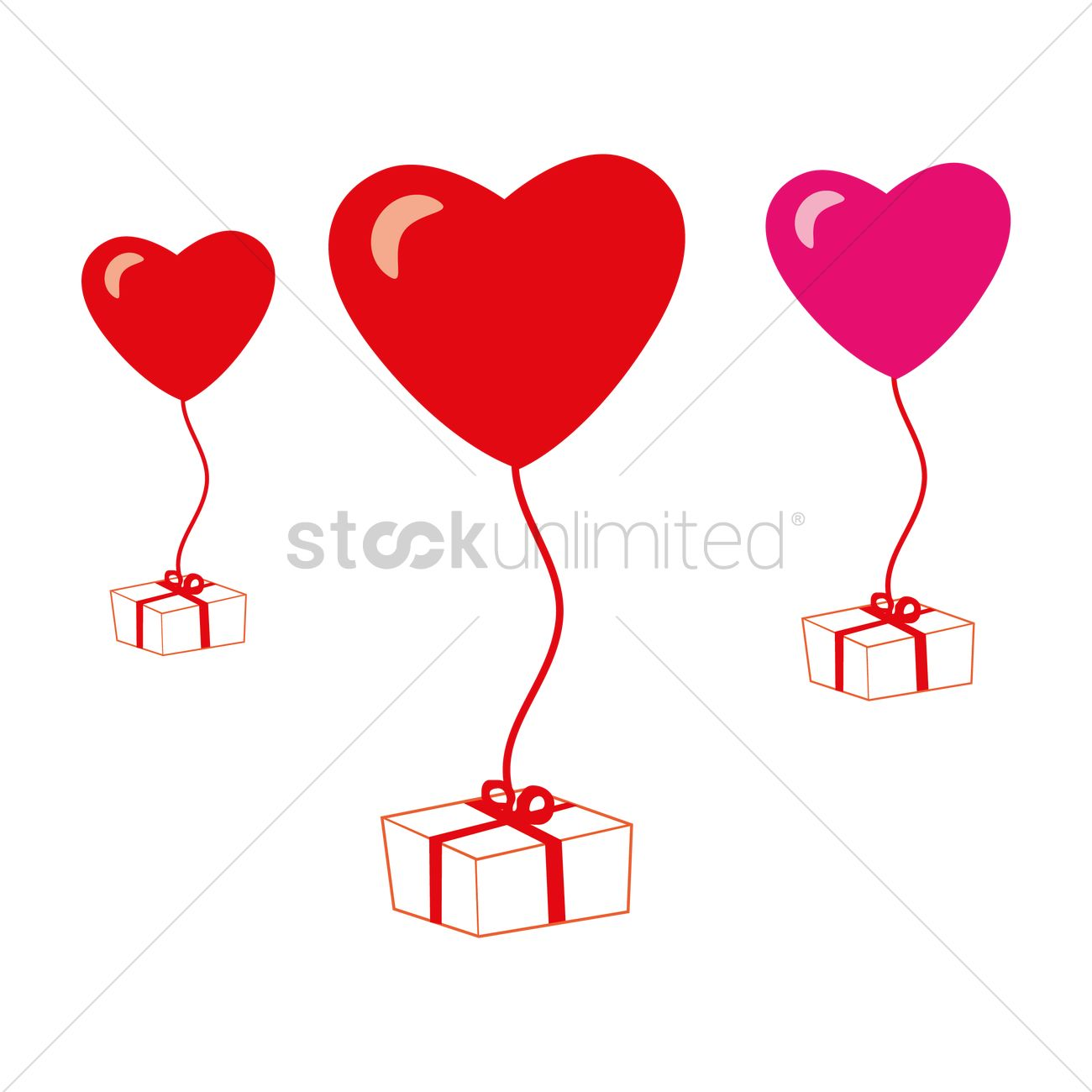 1300x1300 Heart Shaped Balloons Tied To A Gift Box Vector Image