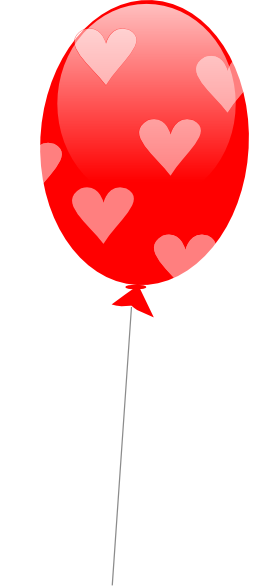 258x586 Red Balloon With Hearts Clip Art