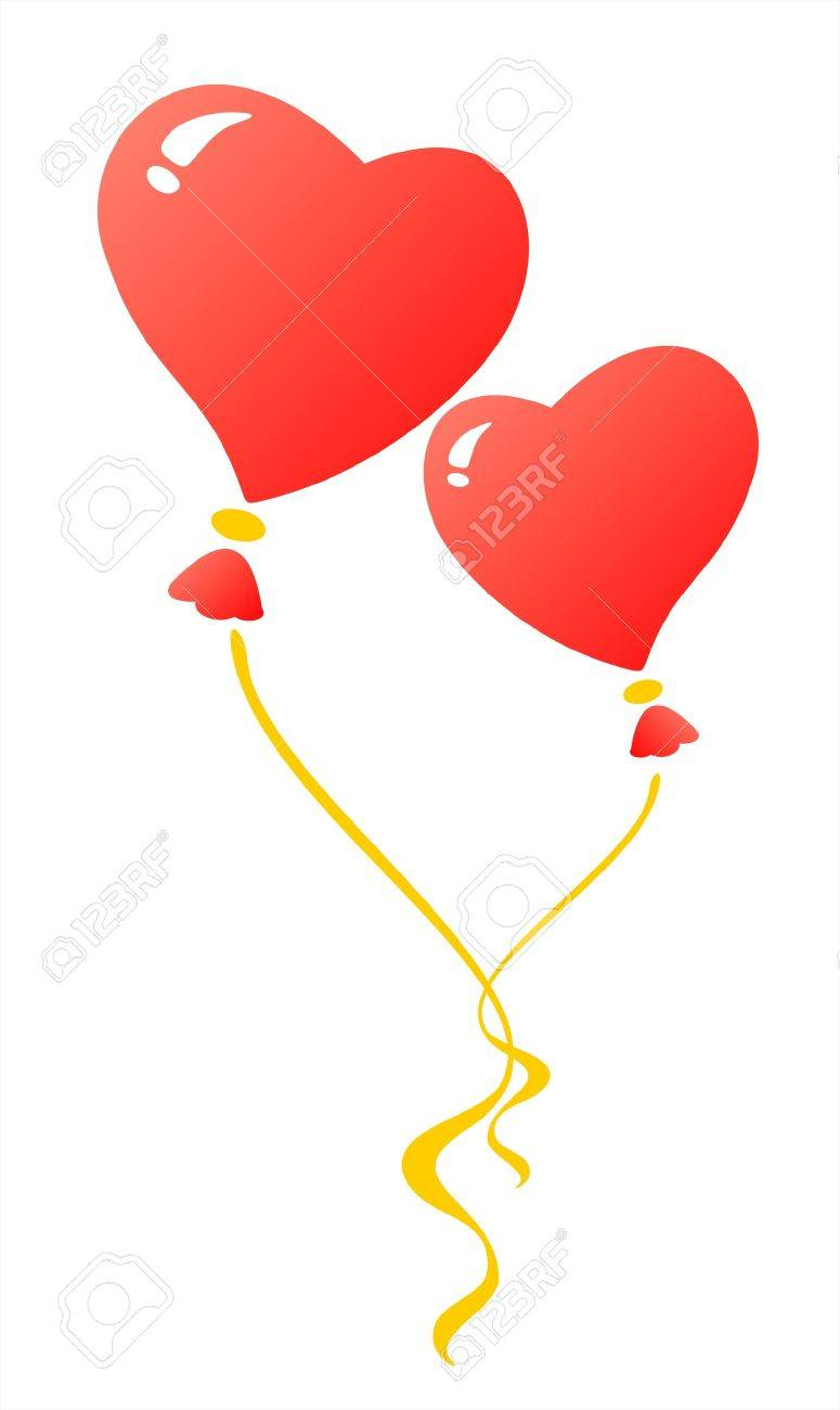 775x1300 Two Red Heart Balloons On A White Background. Valentine'S