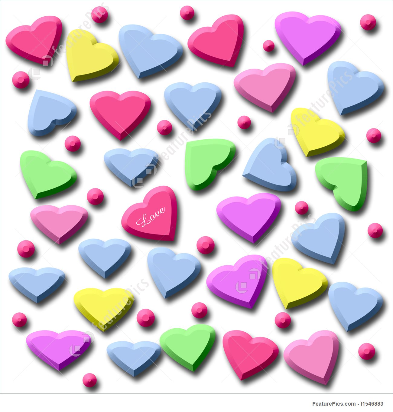 1300x1360 Illustration Of Candy Hearts 3d