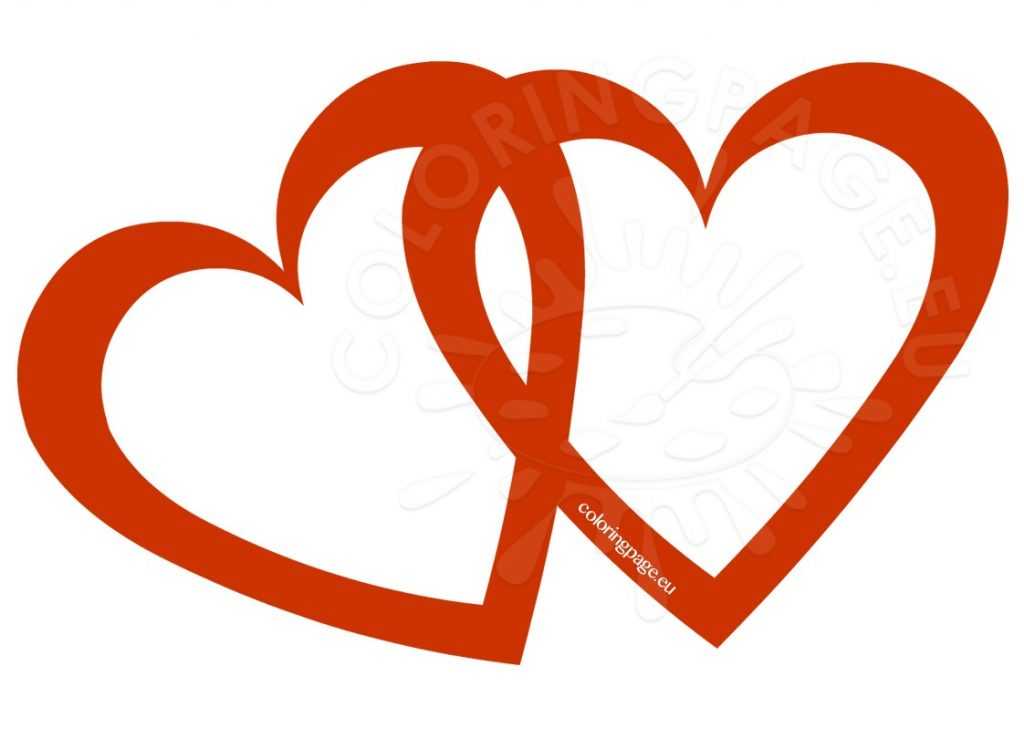 1024x749 Valentine ~ Valentine Two Lovely Hearts Clipart Coloring Page