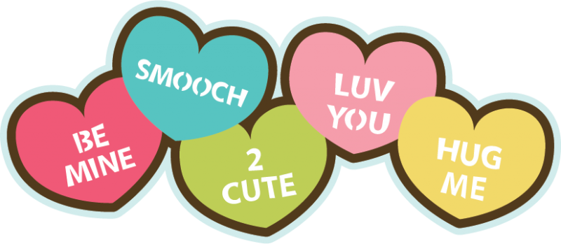 800x349 Candy Hearts Svg File For Scrapbooking Cardmaking Valentine's Day