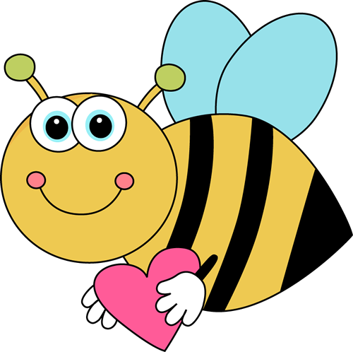 500x498 Flying Cartoon Valentine Bee with Heart Clip Art